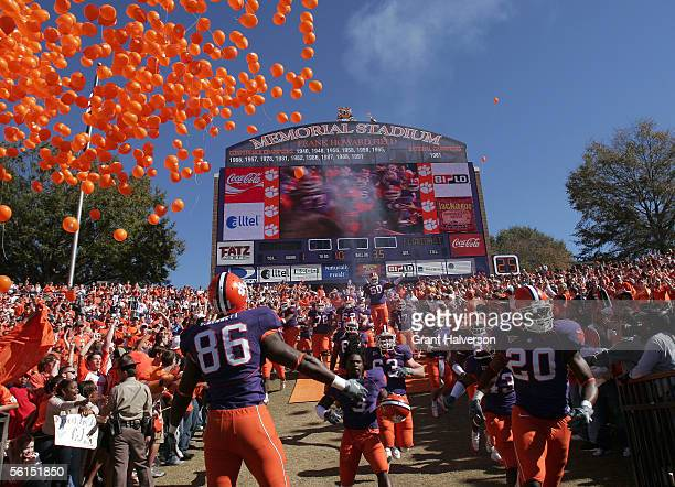 Clemson Tigers players take the field for a game against the Florida State Seminoles during an Atlantic Coast Conference game on November 12 2005 at...