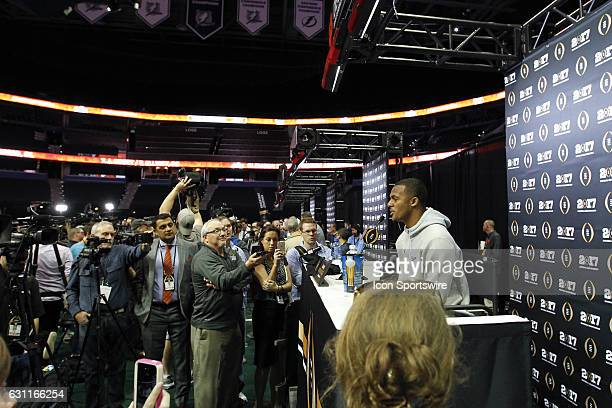 Clemson Tigers quarterback Deshaun Watson talks to members of the media during Media Day for the CFP National Championship on January 07 at Amalie...