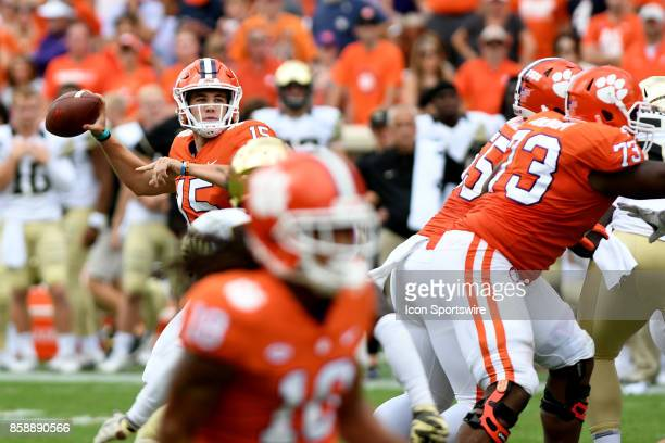 Clemson Tigers quarterback Hunter Johnson pulls back to pass during the ACC college football game between the Wake Forest Demon Deacons and the...