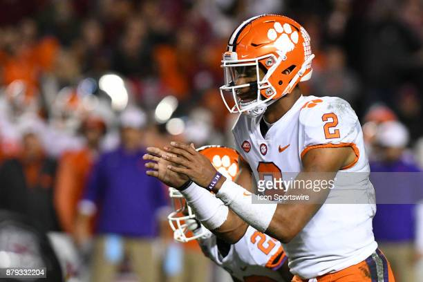 Clemson Tigers quarterback Kelly Bryant calls for the snap during the rival football game between the South Carolina Gamecocks and the Clemson Tigers...