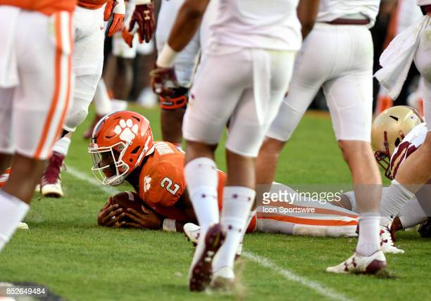 Clemson Tigers quarterback Kelly Bryant dives across the goal line on a quarterback keeper to score a touchdown on Boston College Eagles to go up 267...