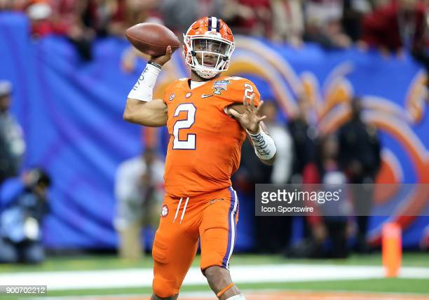 Clemson Tigers quarterback Kelly Bryant drops back to pass during the College Football Playoff Semifinal at the Allstate Sugar Bowl between the...