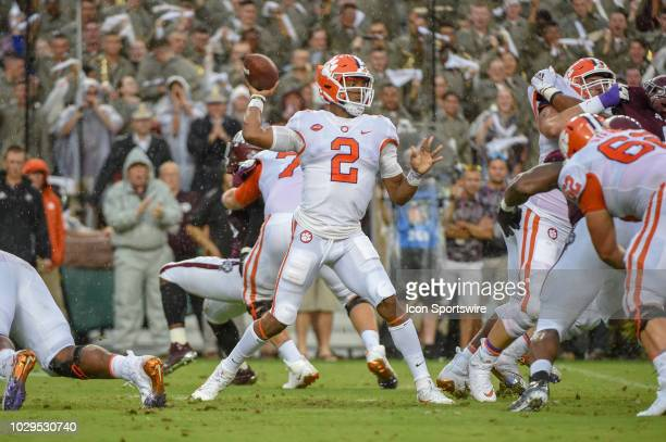 Clemson Tigers quarterback Kelly Bryant enjoys a clean pocket to pass downfield during first half action during the college football game between the...