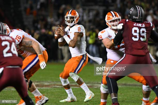 Clemson Tigers quarterback Kelly Bryant looks for an open man down field during the rival football game between the South Carolina Gamecocks and the...