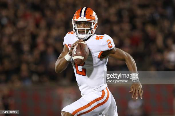 Clemson Tigers quarterback Kelly Bryant looks to pass during the NCAA football game against the Clemson Tigers and the Louisville Cardinals on...