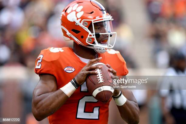 Clemson Tigers quarterback Kelly Bryant looks to pass early in the first quarter during the ACC college football game between the Wake Forest Demon...