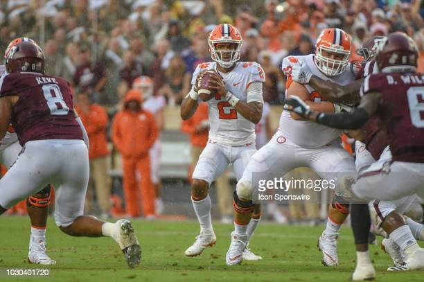 Clemson Tigers quarterback Kelly Bryant looks to throw downfield during the college football game between the Clemson Tigers and the Texas AM Aggies...