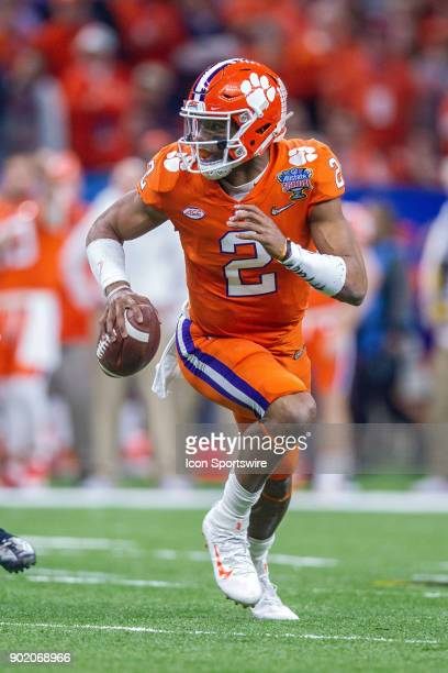Clemson Tigers quarterback Kelly Bryant scrambles with the ball during the Allstate Sugar Bowl between the Alabama Crimson Tide and the Clemson...