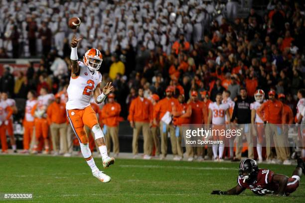 Clemson Tigers quarterback Kelly Bryant throws a pass down field during the rival football game between the South Carolina Gamecocks and the Clemson...