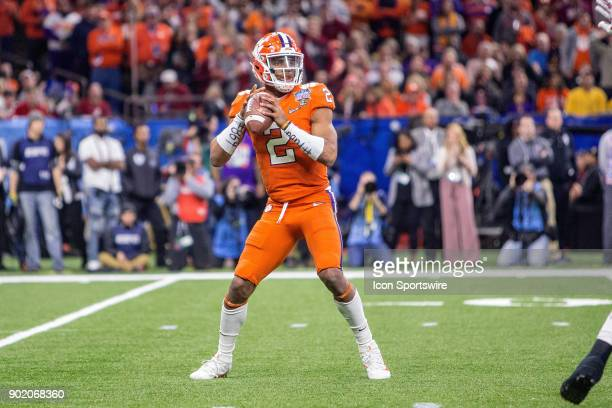 Clemson Tigers quarterback Kelly Bryant throws a pass during the Allstate Sugar Bowl between the Alabama Crimson Tide and the Clemson Tigers at the...