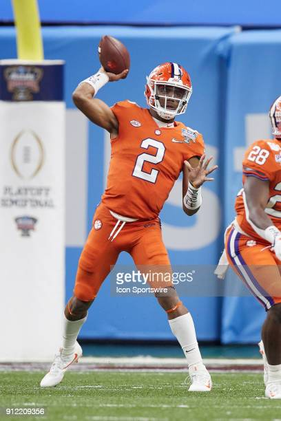 Clemson Tigers quarterback Kelly Bryant throws the football during the College Football Playoff Semifinal at the Allstate Sugar Bowl between the...