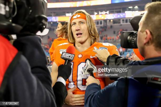 Clemson Tigers quarterback Trevor Lawrence speaks to the media after the ACC Championship game between the Clemson Tigers and the Virginia Cavaliers...