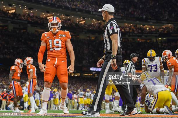 Clemson Tigers safety Tanner Muse celebrates a huge stop near the LSU goal line during the CFP National Championship game between the LSU Tigers and...