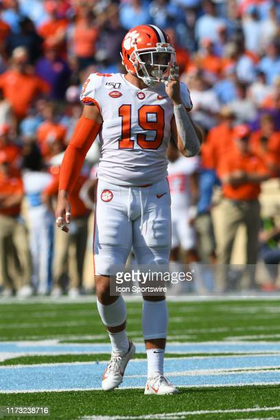 Clemson Tigers safety Tanner Muse in the game between the Clemson Tigers and the North Carolina Tar Heels on September 28 2019 at Kenan Memorial...