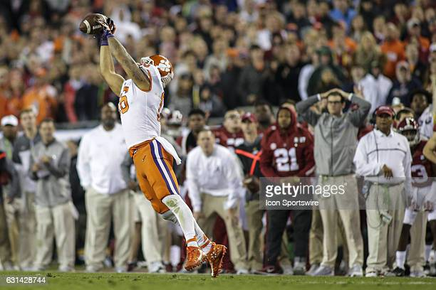 Clemson Tigers tight end Jordan Leggett makes a catch during the College Football Playoff National Championship game between the Alabama Crimson Tide...