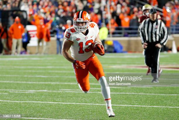 Clemson Tigers wide receiver Hunter Renfrow carries the ball after a reception during a game between the Boson College Eagles and the Clemson...