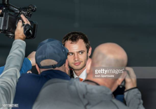 Clemson Tigers wide receiver Hunter Renfrow speaks with the media after arriving at the Norman Y Mineta San Jose International Airport on Friday...