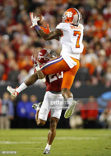 Clemson Tigers wide receiver Mike Williams goes up for the reception late in the game as Alabama Crimson Tide defensive back Anthony Averett defends...