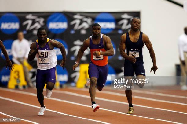 Clemson's Jacoby Ford, center, races to a victory in the 60 Meter Dash during the Division I Men's Indoor Track and Field Championship held at the...