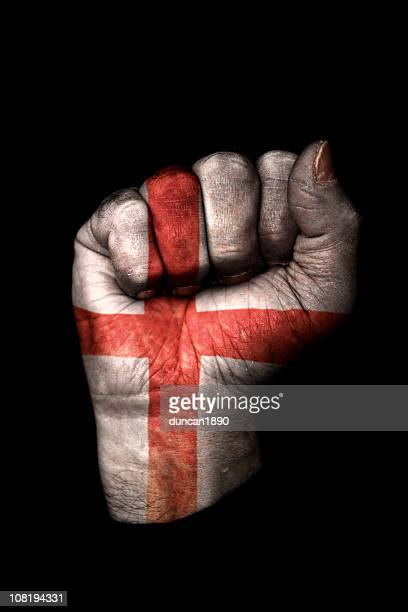 Clenched Fist with English Flag Painted, Isolated on Black