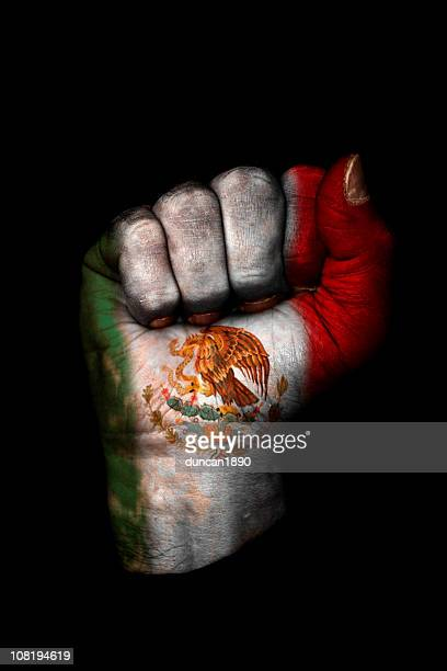 Clenched Fist with Mexican Flag Painted, Isolated on Black
