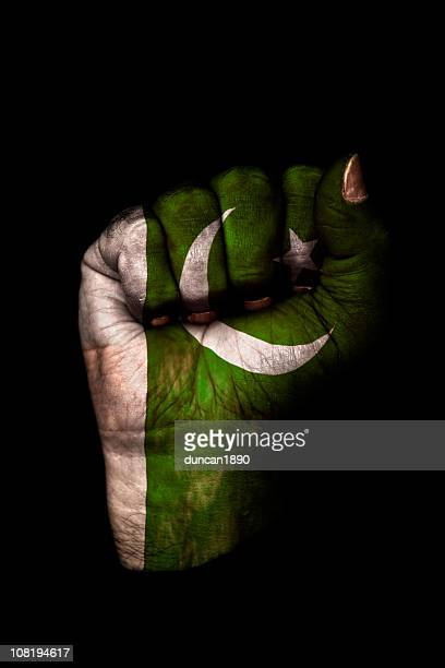 clenched fist with pakistan flag painted, isolated on black - pakistani flag stock photos and pictures