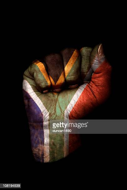 clenched fist with south african flag painted, isolated on black - south african flag stock photos and pictures
