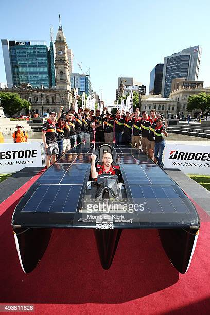 Clenergy TeamArrow celebrates after finishing the 2015 Bridgestone World Solar Challenge at Victorie Square on October 23, 2015 in Adelaide,...