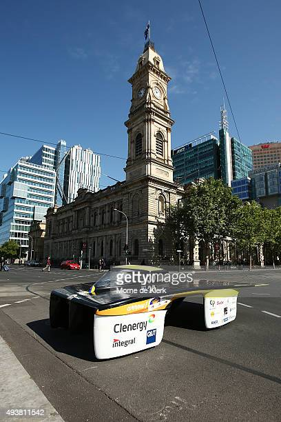 Clenergy TeamArrow prepares to cross the finish line during the 2015 Bridgestone World Solar Challenge at Victorie Square on October 23, 2015 in...