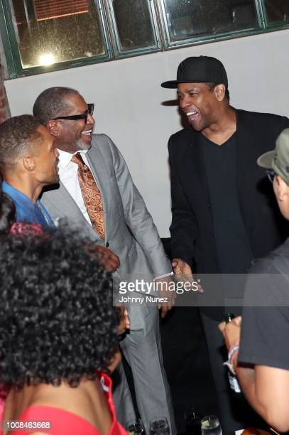 Cleo Anthony Larry Cherry and Denzel Washington attend the 'BlacKkKlansman' New York Premiere at Brooklyn Academy of Music on July 30 2018 in New...
