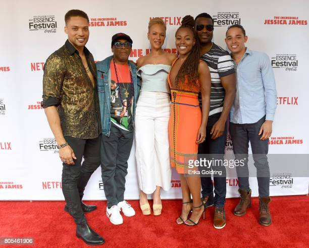 Cleo Anthony Spike Lee Tonya Lewis Lee DeWanda Wise Lyriq Bent and Anthony Ramos attends the Premiere Of Netflix Original Film The Incredible Jessica...