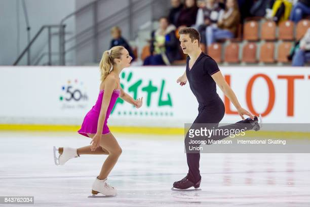 Cleo Hamon and Denys Strekalin of France compete in the Junior Pairs Short Program during day 1 of the Riga Cup ISU Junior Grand Prix of Figure...