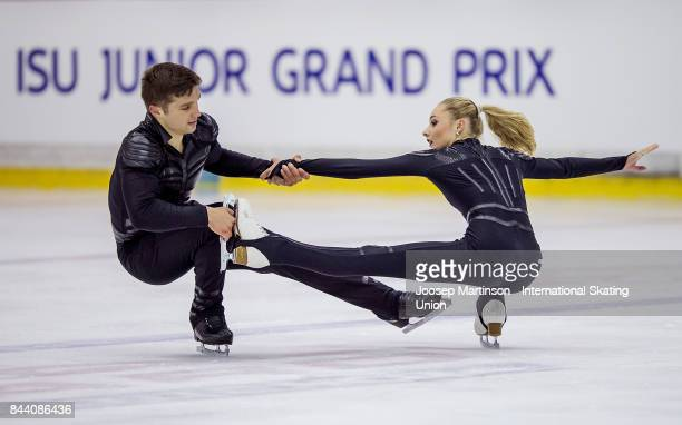 Cleo Hamon and Denys Strekalin of France compete in the Junior Pairs Free Skating during day 2 of the Riga Cup ISU Junior Grand Prix of Figure...
