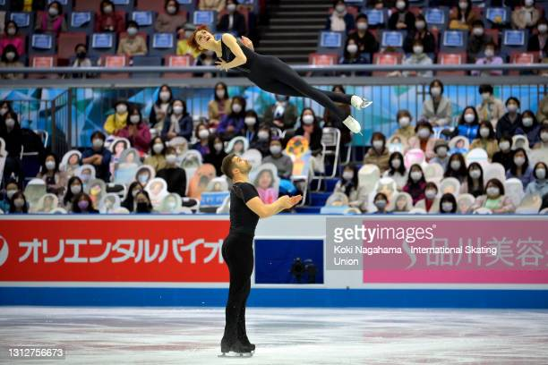 Cleo Hamon and Denys Strekalin of France compete in the Pair Short Program on day two of ISU World Team Trophy at Maruzen Intec Arena Osaka on April...
