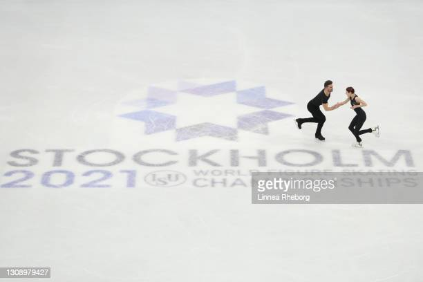 Cleo Hamon and Denys Strekalin of France perform in the Pairs Short Program during the ISU World Figure Skating Championships at Ericsson Globe on...