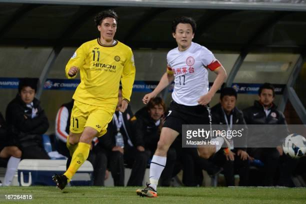 Cleo of Kashiwa Reysol in action during the AFC Champions League Group H match between Kashiwa Reysol and Guizhou Renhe at Hitachi Kashiwa Soccer...
