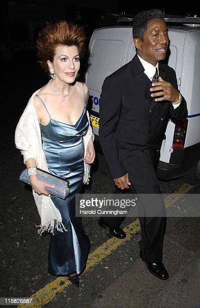 Cleo Rocos and Jermaine Jackson during Harrods Rocks A Celebration of Rock Music and the Guitar Launch Party at Harrods Knightsbridge in London Great...
