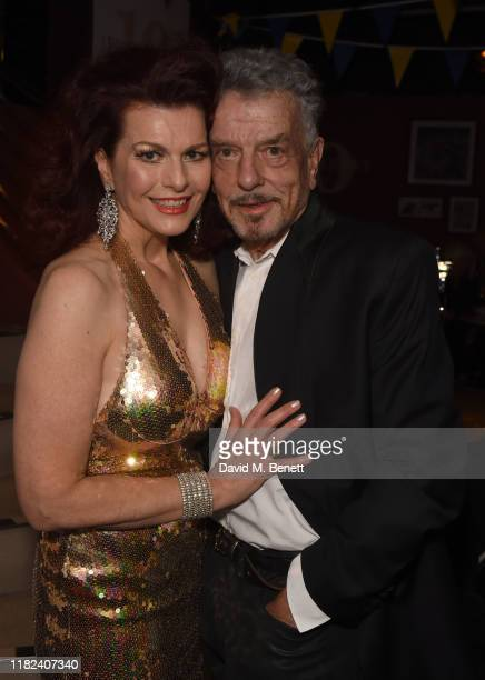 Cleo Rocos and Nicky Haslam pose after performing during The Pheasantry's 10th Anniversary on November 14 2019 in London England