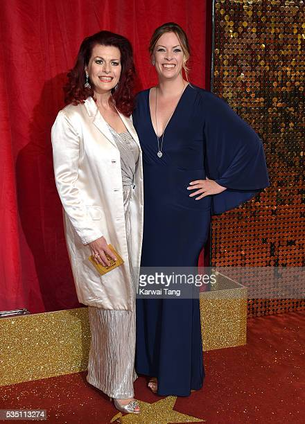 Cleo Rocos and Sharon Marshall arrive for the British Soap Awards 2016 at the Hackney Town Hall Assembly Rooms on May 28 2016 in London England
