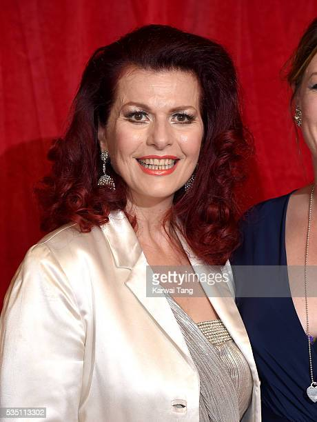 Cleo Rocos arrives for the British Soap Awards 2016 at the Hackney Town Hall Assembly Rooms on May 28 2016 in London England