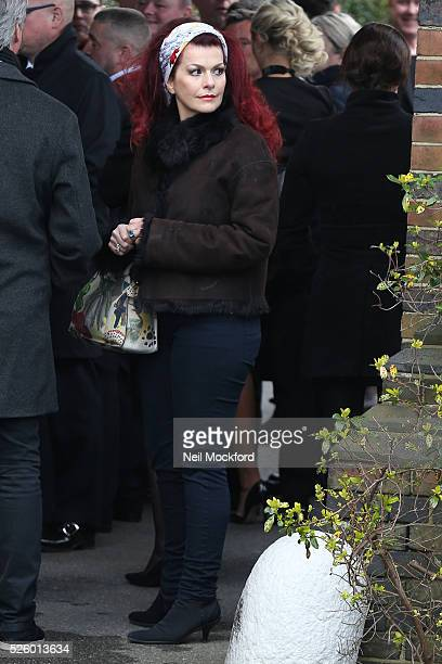 Cleo Rocos arriving at the funeral of David Gest at Golders Green Crematorium on April 29 2016 in London England