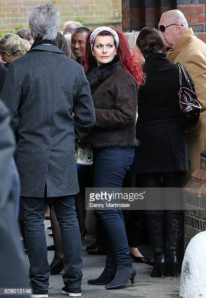 Cleo Rocos attends the funeral of entertainer producer and reality television star David Gest at Golders Green Crematorium on April 29 2016 in London...