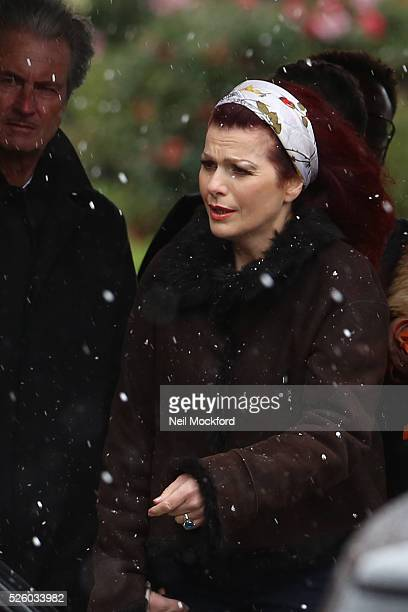 Cleo Rocos departs the funeral of David Gest at Golders Green Crematorium on April 29 2016 in London England