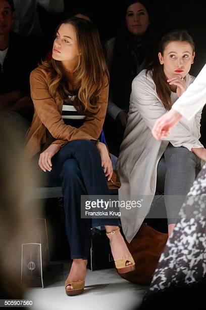 Cleo von Adelsheim and Peri Baumeister attend the Laurel show during the MercedesBenz Fashion Week Berlin Autumn/Winter 2016 at Brandenburg Gate on...