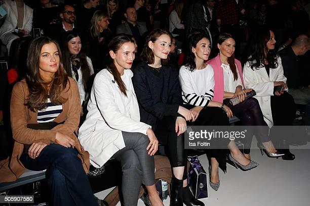 Cleo von Adelsheim, Peri Baumeister, Maria Ehrich, Sibel Kekilli, Mina Tander and Natalia Woerner attend the Laurel show during the Mercedes-Benz...
