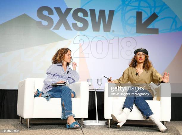 Cleo Wade and Elaine Welteroth speak onstage at TRIBE BUILDING 20 Engaging a Conscious Community Online IRL during SXSW at Austin Convention Center...
