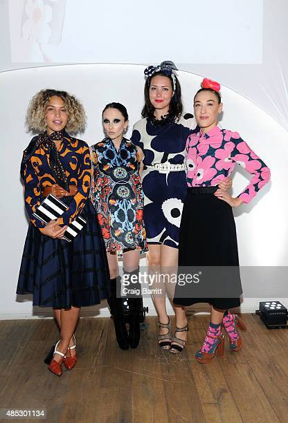 Cleo Wade Stacey Bendet Liza Voloshin and DJ Mia Moretti attend the Marimekko evening of Fall Fashion hosted by DJ Mia Moretti on August 26 2015 in...