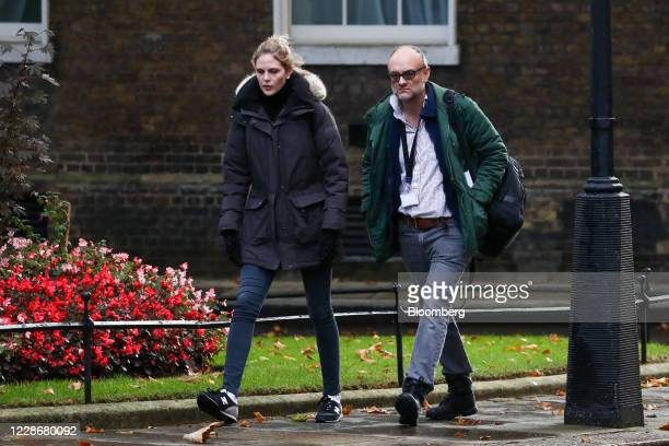 Cleo Watson a UK government adviser left and Dominic Cummings special adviser to UK Prime Minister Boris Johnson arrive in Downing Street in London...