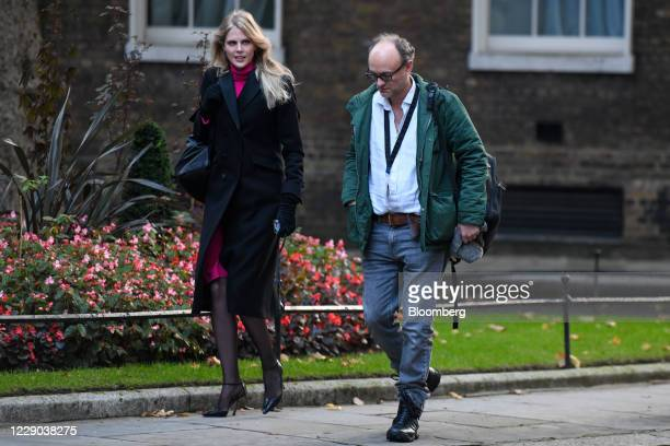 Cleo Watson a UK government adviser left and Dominic Cummings special adviser to UK Prime Minister Boris Johnson arrive for a weekly meeting of...