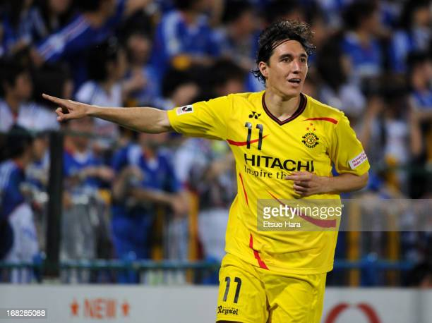 Cleo whose real name is Cleverson Gabriel Cordova of Kashiwa Reysol celebrates scoring his team's first goal during the JLeague match between Kashiwa...